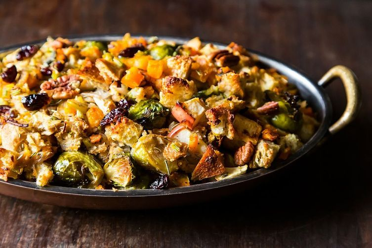 Butternut Squash, Brussels Sprout and Bread Stuffing with Apples
