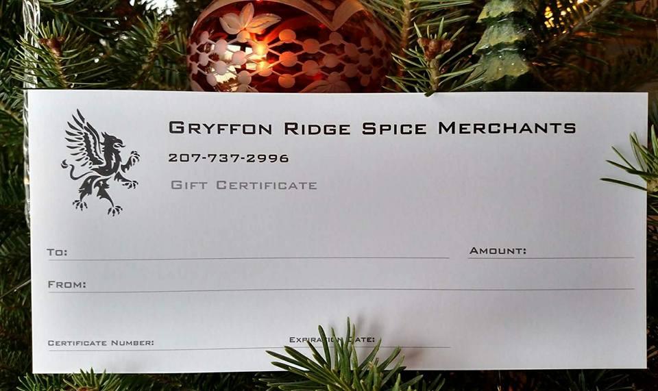 Gryffon Ridge Spice Merchants Gift Certificate
